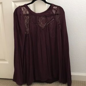 Maroon long sleeve blouse